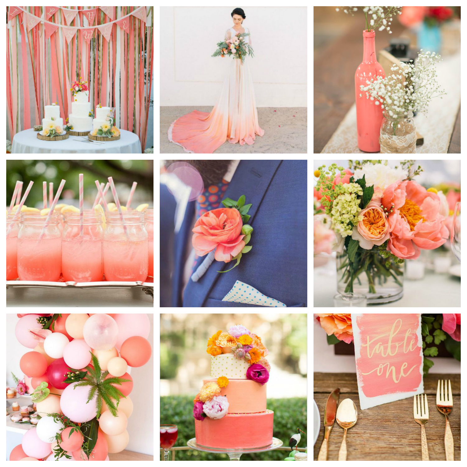 living coral wedding inspiration