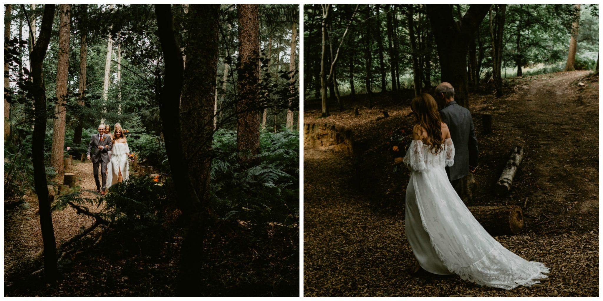 woodland wedding bride
